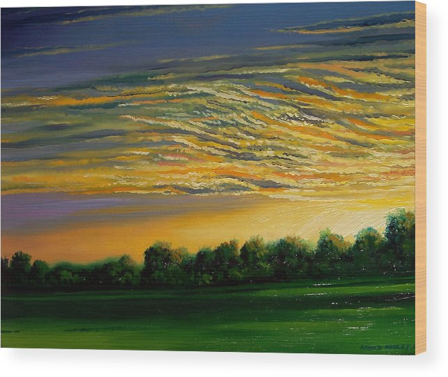 Landscape Wood Print featuring the painting Sunrise by Arnold Hurley