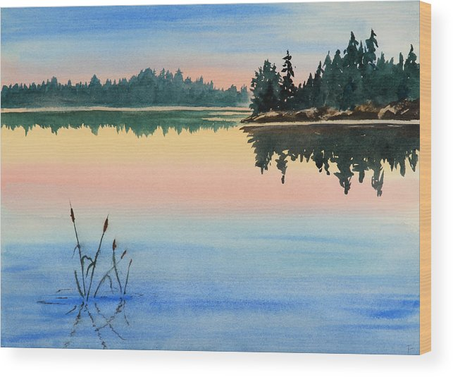 Sunset Wood Print featuring the painting Sunset No.1 by Debbie Homewood