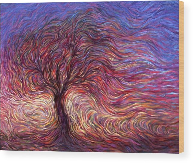 Tree Wood Print featuring the painting Sunset Tree by Hans Droog