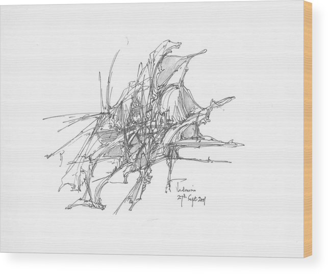 Landscape Wood Print featuring the drawing Surrealscape 6 by Padamvir Singh