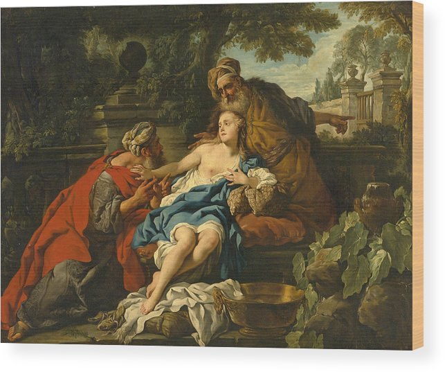Studio Of Jean-francois Detroy Wood Print featuring the painting Susanna And The Elders by Studio of Jean-Francois Detroy