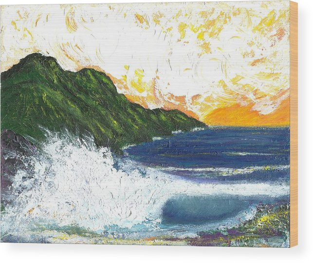 Seascape Wood Print featuring the painting Swept Away by Laura Johnson