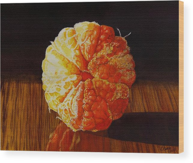Still Life Wood Print featuring the painting Tangerine by Catherine G McElroy