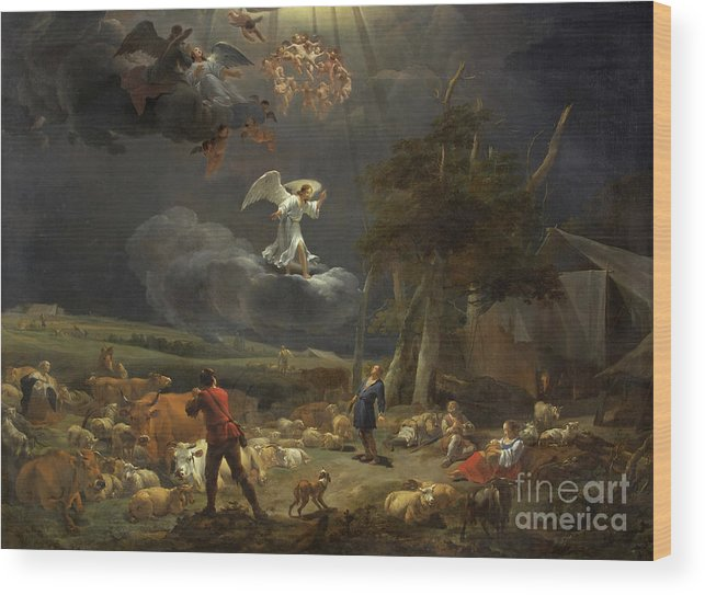 Berchem Wood Print featuring the painting The Annunciation To The Shepherds by Nicolaes Pietersz Berchem
