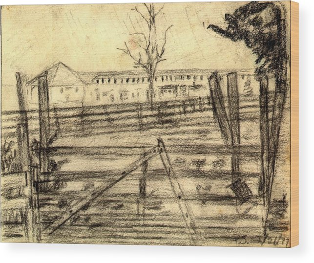 Barn Wood Print featuring the drawing The Barn by Peter Shor