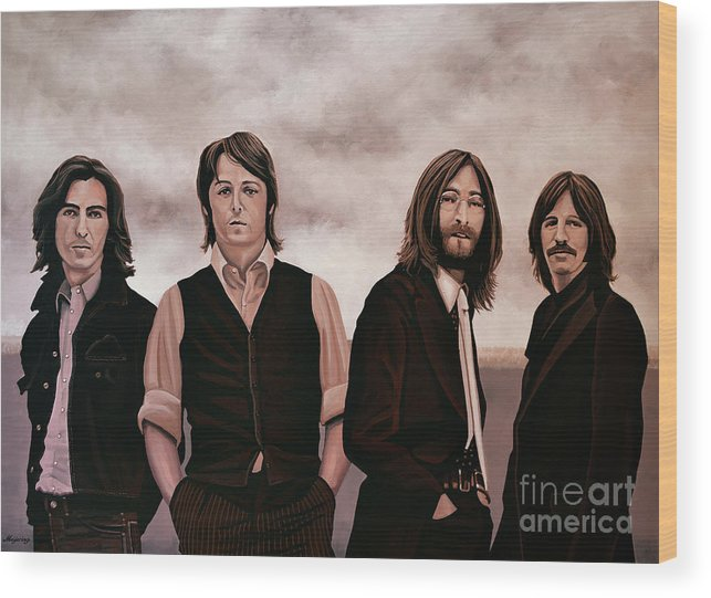 The Beatles Wood Print featuring the painting The Beatles 3 by Paul Meijering