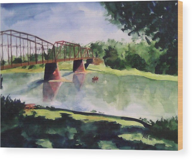 Bridge Wood Print featuring the painting The Bridge At Ft. Benton by Andrew Gillette