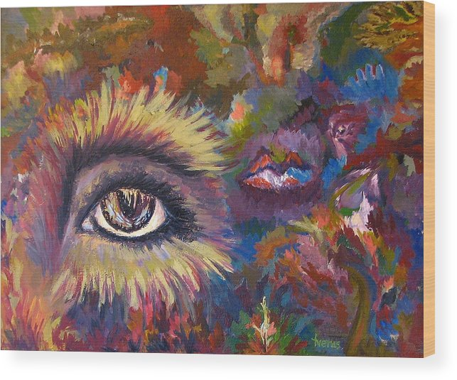 Abstract Wood Print featuring the painting The Eye by Laura Tveras