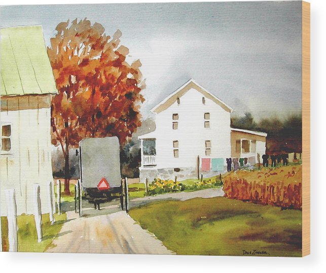 Amish Wood Print featuring the painting The Homestead by Faye Ziegler