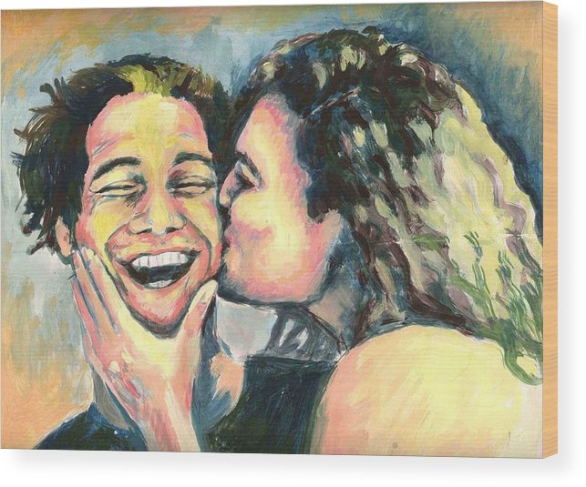Man Wood Print featuring the painting The Kiss by Nicole Zeug