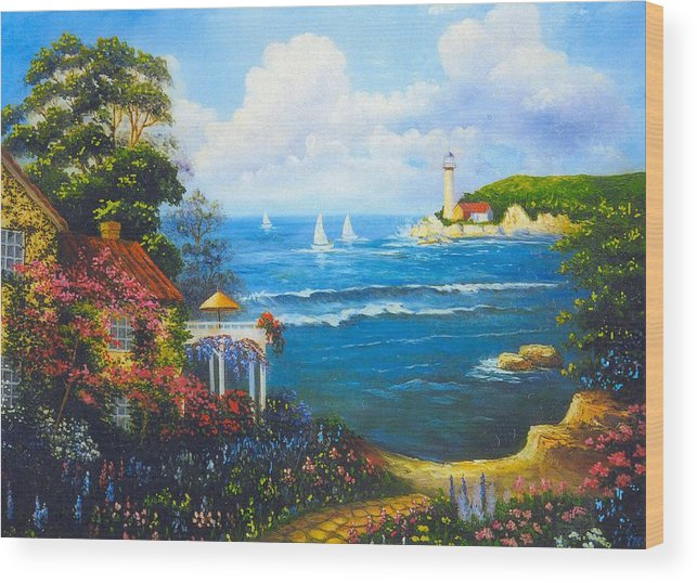 Lighthouse Wood Print featuring the digital art The Light House By The Sea by Jeanene Stein