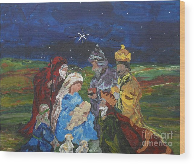 Nativity Wood Print featuring the painting The Nativity by Reina Resto