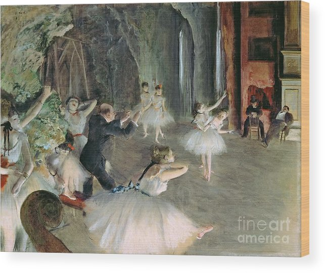 The Wood Print featuring the painting The Rehearsal Of The Ballet On Stage by Edgar Degas