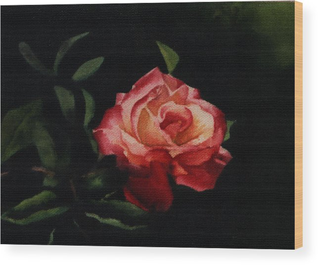 Floral Wood Print featuring the painting The Rose by Patricia Halstead