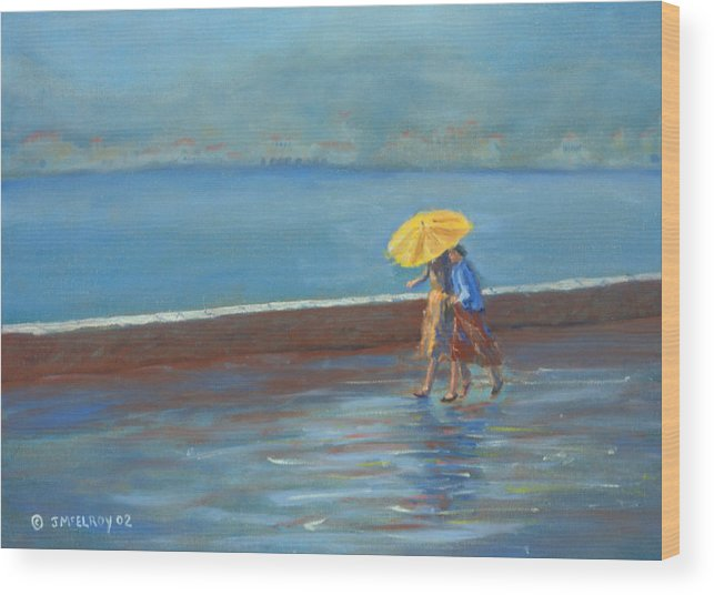 Rain Wood Print featuring the painting The Yellow Umbrella by Jerry McElroy