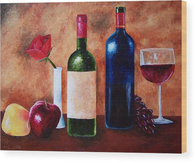 Still Life Wood Print featuring the painting Thicker Than Wine by Brandon Sharp