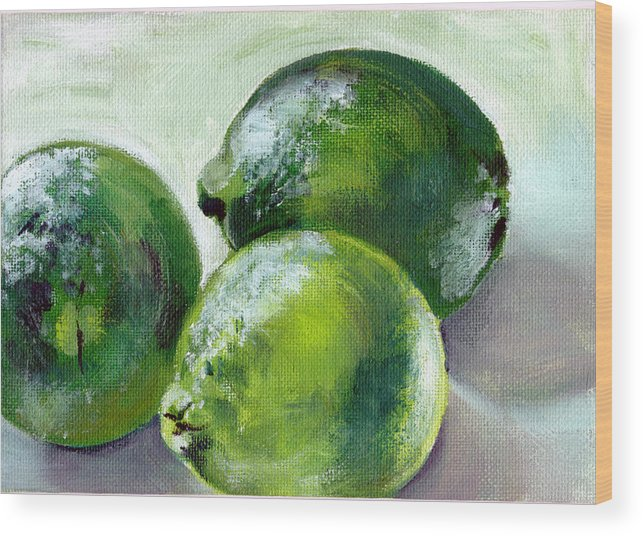 Food Wood Print featuring the painting Three Limes by Sarah Lynch