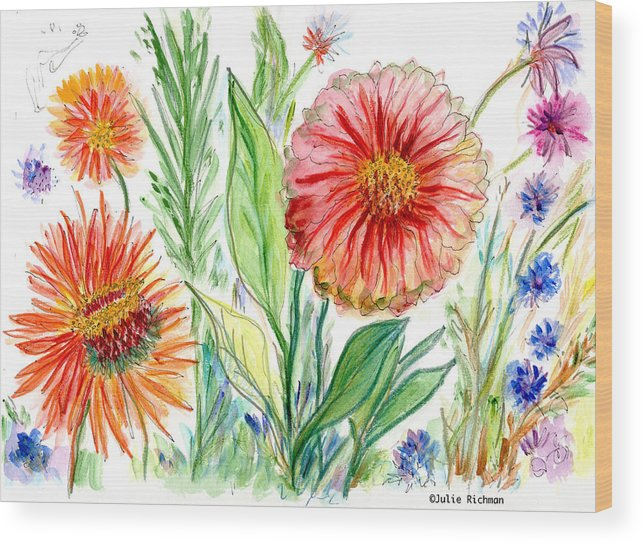 Flowers Nature Botany Drawing Julie Richman Flora Pencil Wood Print featuring the painting Three Red Flowers 53 by Julie Richman