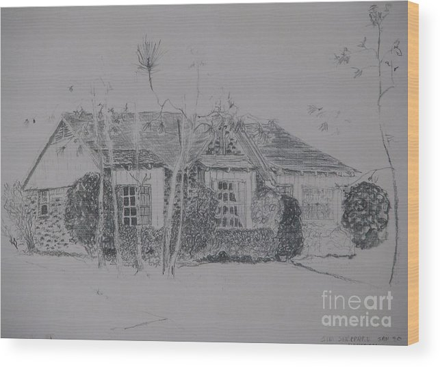 Christmas House Wood Print featuring the drawing Through The Woods To Grandmother by James SheppardIII