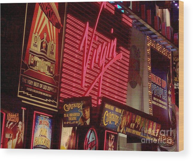 Times Square Wood Print featuring the photograph Times Square Night by Debbi Granruth