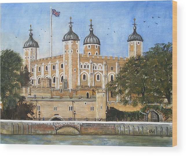 London Wood Print featuring the painting Tower Of London by Carol Williams