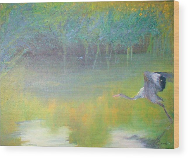 Landscape Wood Print featuring the painting Tranquil by Tinsu Kasai
