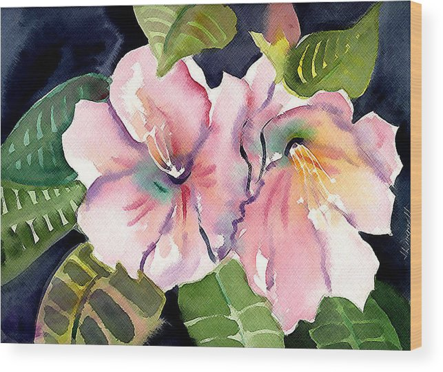 Tropical Wood Print featuring the painting Tropical Flowers by Janet Doggett