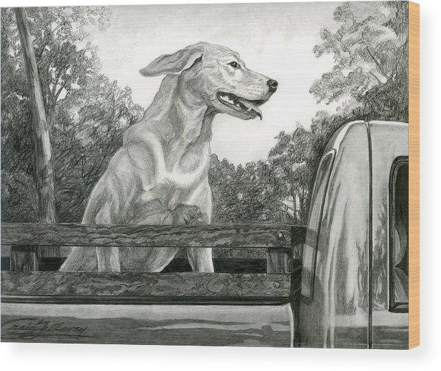 Dog Wood Print featuring the painting Truck Queen Study by Craig Gallaway