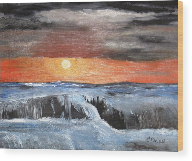 Landscape Wood Print featuring the painting Turmoil by L A Raven