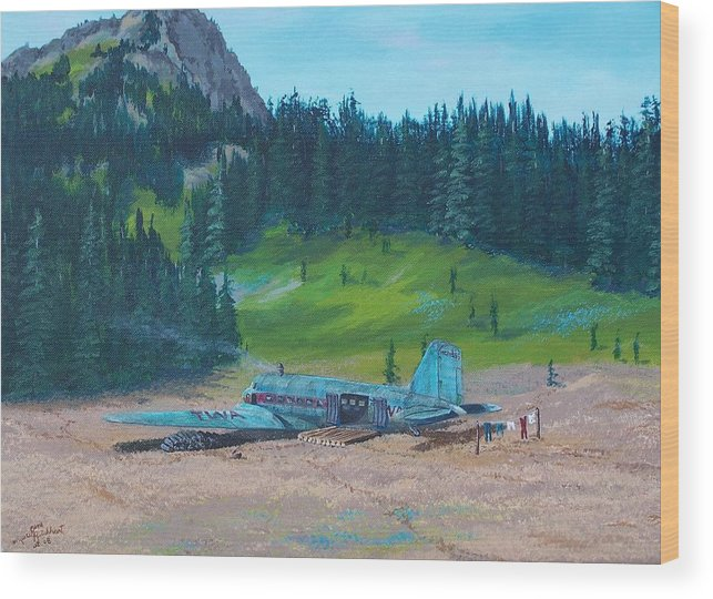 Landscape / Dc-3 Airplane Wood Print featuring the painting Twa Mountaintop Cabin by Gene Ritchhart
