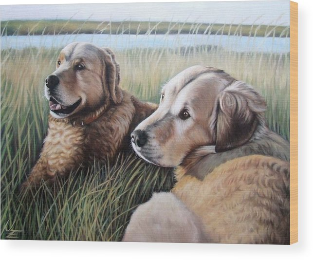 Dogs Wood Print featuring the painting Two Golden Retriever by Nicole Zeug