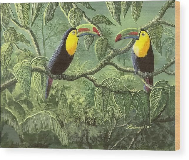 Toucans Wood Print featuring the painting Two Toucans by Don Lindemann