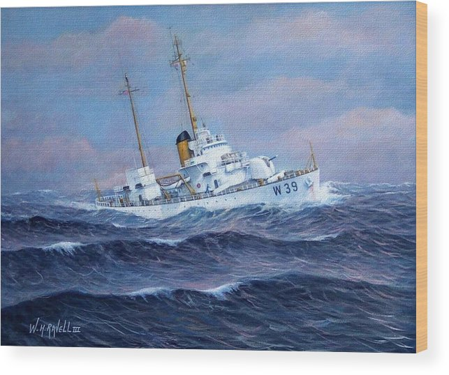Marine Art Wood Print featuring the painting U. S. Coast Guard Cutter Owasco by William H RaVell III