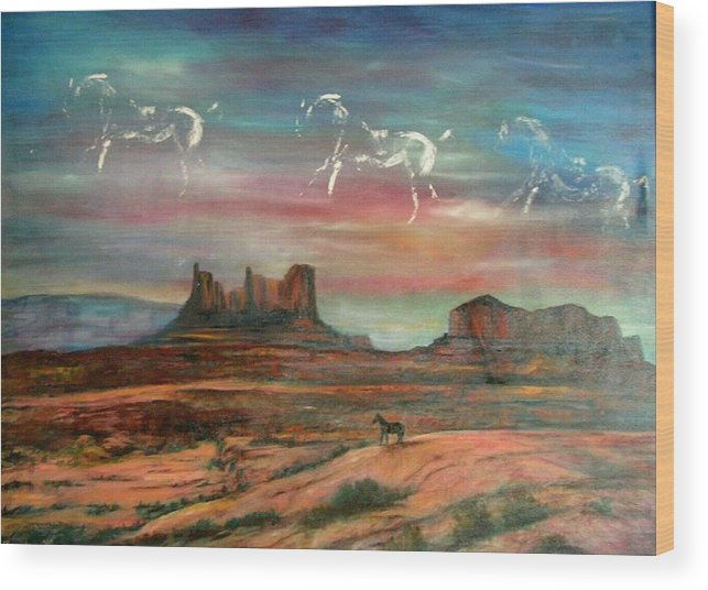 Landscape Wood Print featuring the painting Valley Of The Horses by Darla Joy Johnson