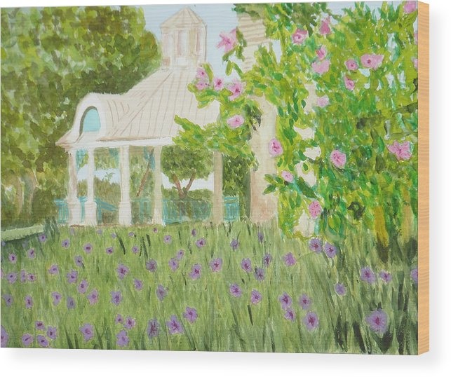 Park Wood Print featuring the painting Veteran's Park by Donna Walsh