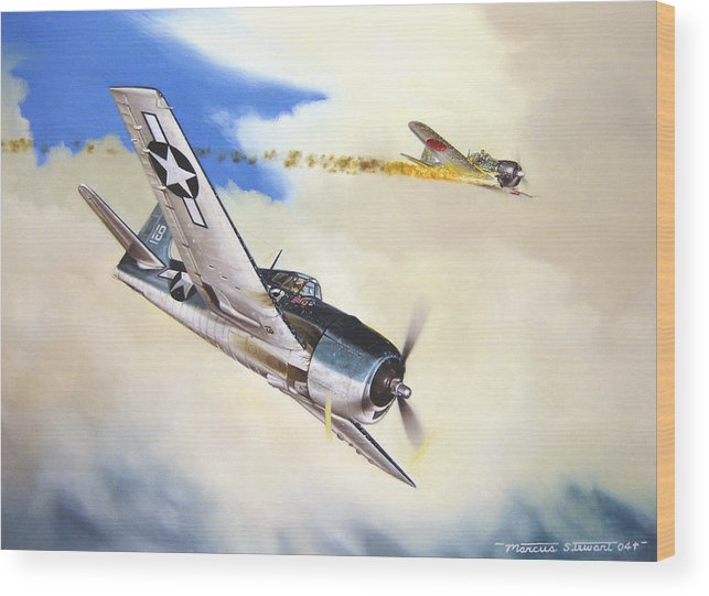 Military Wood Print featuring the painting Victory For Vraciu by Marc Stewart