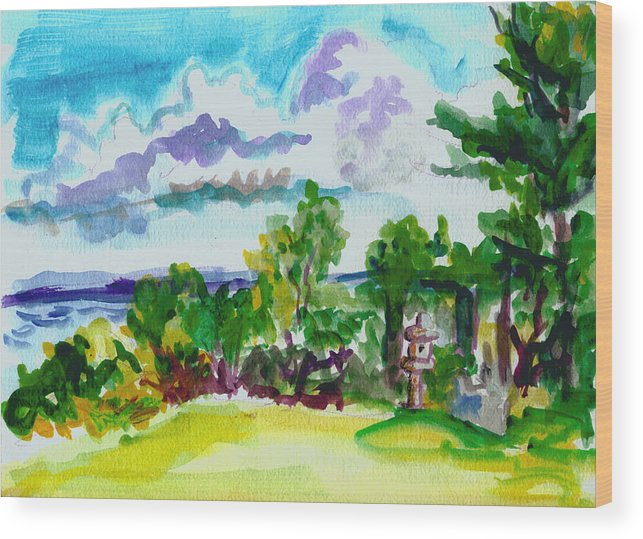 Landscape Wood Print featuring the painting View From Rockcraft by Gail Wartell