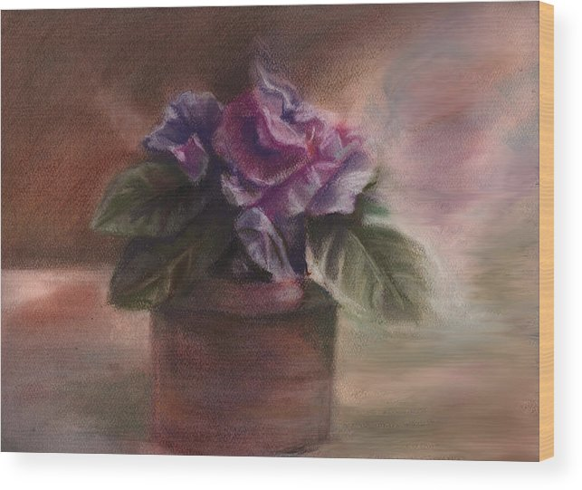 Flowers Wood Print featuring the pastel Violets by Patricia Halstead