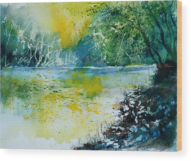 Pond Wood Print featuring the painting Watercolor 051108 by Pol Ledent