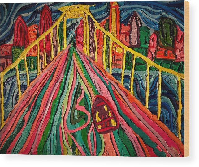 Cityscape Walt Whitman Bridge Wood Print featuring the painting Welcome To Philadelphia by Ira Stark