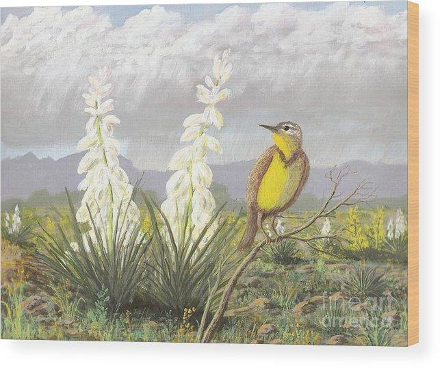 Meadowlark Wood Print featuring the painting Western Meadowlark by Don Lindemann