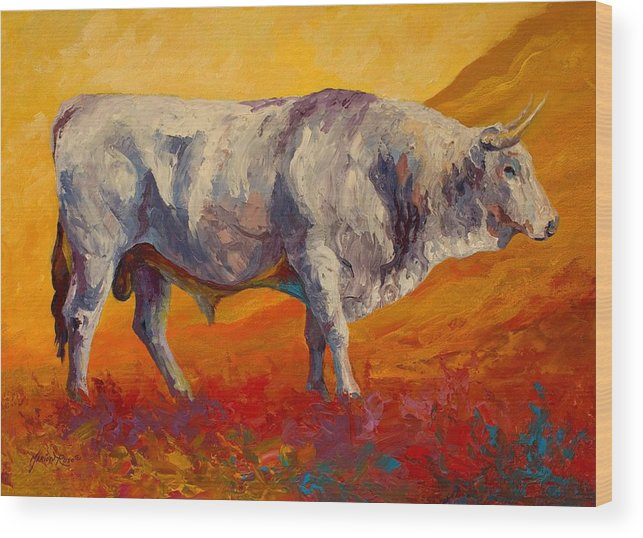 Cows Wood Print featuring the painting White Bull by Marion Rose