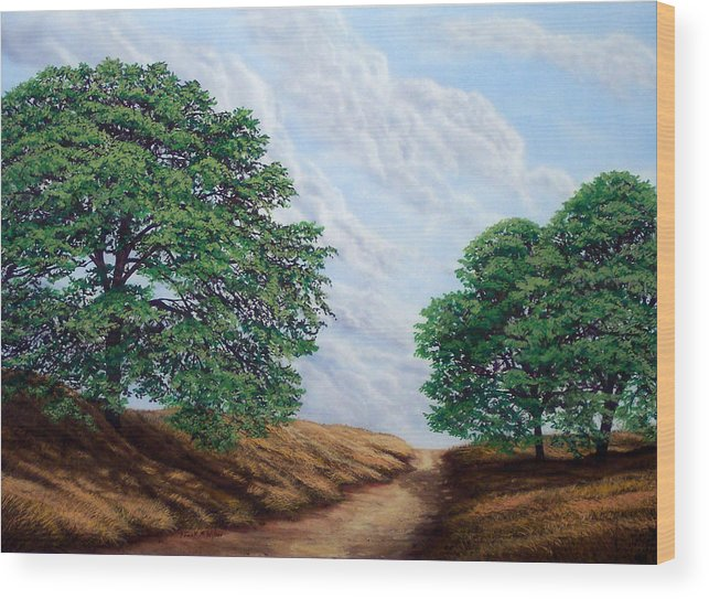 Landscape Wood Print featuring the painting Windblown Clouds by Frank Wilson