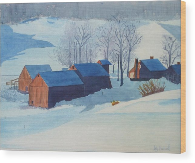 Winter Wood Print featuring the painting Winter Farm by Ally Benbrook