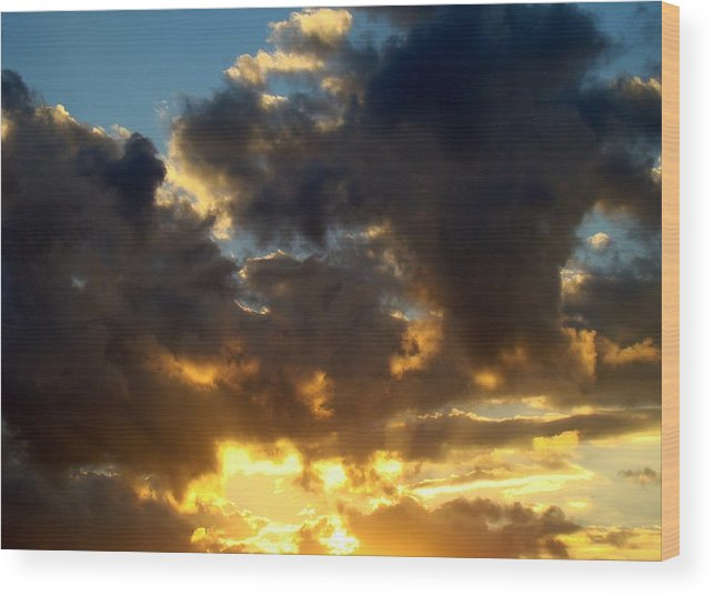 Clouds Wood Print featuring the photograph Winter Sunset Three by Ana Villaronga