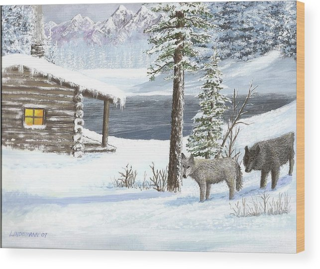 Wolfs Wood Print featuring the painting Wolfs In Winter by Don Lindemann
