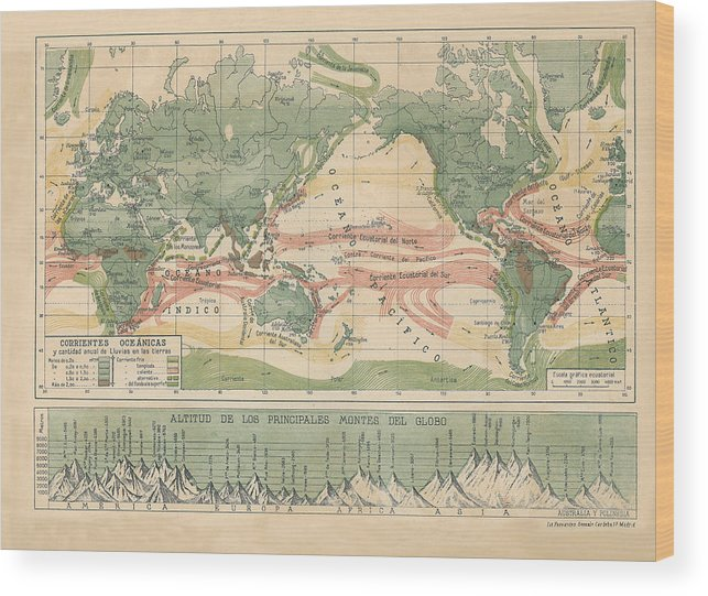 World Map With Currents.World Map Ocean Currents Wood Print By Carambas Vintage
