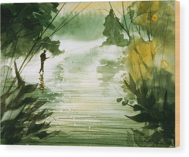 Fisherman Wood Print featuring the painting Yellow Dog River by Sean Seal