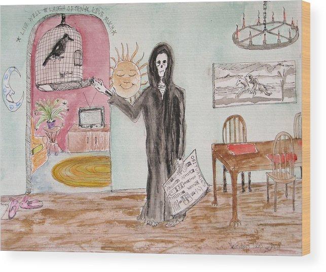 Bird Birdcage Darkestartist Death Home Humor Ink Watercolor Watercolour Darkest Artist Wood Print featuring the painting Yesterdays News by Darkest Artist