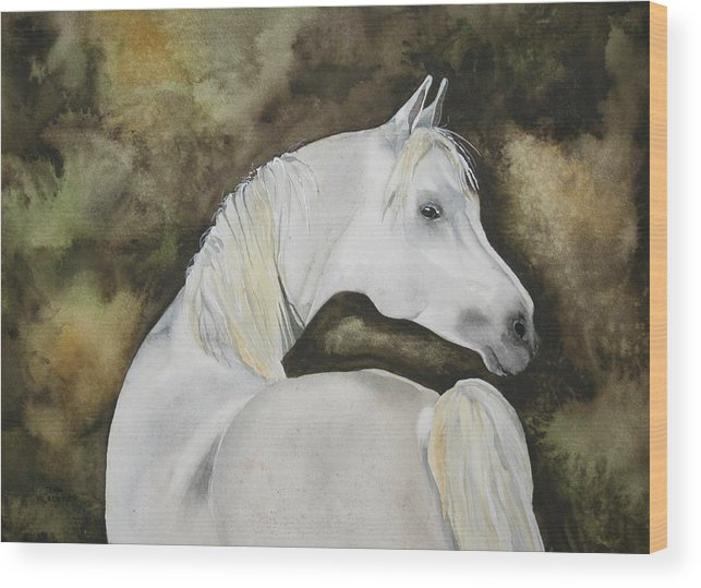 Horse Wood Print featuring the painting You Talking To Me by Jean Blackmer